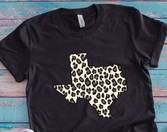 Leopard Texas Shirt, Unisex Bella Canvas, Plus Size Available, Leopard Print Texas Womens Shirt, Gift for Texas lover