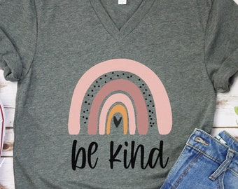 Be Kind Shirt,Graphic Tees For Women,Teacher Gifts,Be Kind Gift,Kindness T Shirt,Women Rainbow Spring Apparel,Motivational Outfits,Happy Tee
