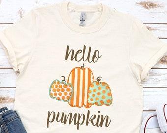Hello Pumpkin Shirt \ Pumpkin Shirt \ Autumn Shirt \ Fall Shirt for Woman \ Halloween Fall Shirt \ Fall Shirt \ Cute Fall Tee \ Plus Size