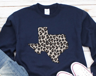 Leopard Texas Sweater, Plus Size Available, Leopard Print Texas Shirt, Gift for Texas lover, State Pride, TX shirt Women, Vintage Distressed