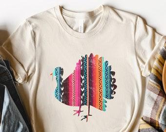 Fall Shirts, Serape Print Turkey, Thanksgiving, Plus Size Available, Vintage Distressed, Bella Canvas Unisex Shirt, Autumn Harvest,