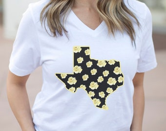 Yellow Rose Texas Shirt, Vneck Bella Canvas, Plus Size Available, Texas Womens Shirt, Gift for Texas lover, Vneck Plus Size Texas Shirt