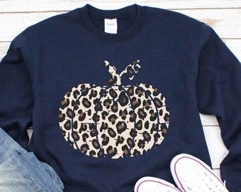 Leopard Print Pumpkin Sweatshirt, Trendy Plus Size Available, Cute Fall Halloween Womens Clothing, Leopard Print Sweater, Fall Sweatshirt