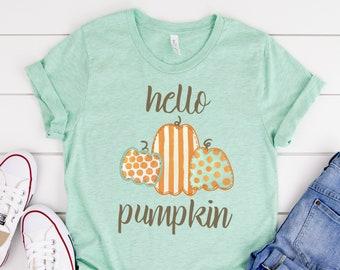 Teal and Orange Pumpkin Tee, Hello Pumpkin, Polka Dots and Stripes, Cute Fall Halloween Women's Tee, Bella Canvas Shirt, Plus Size Available