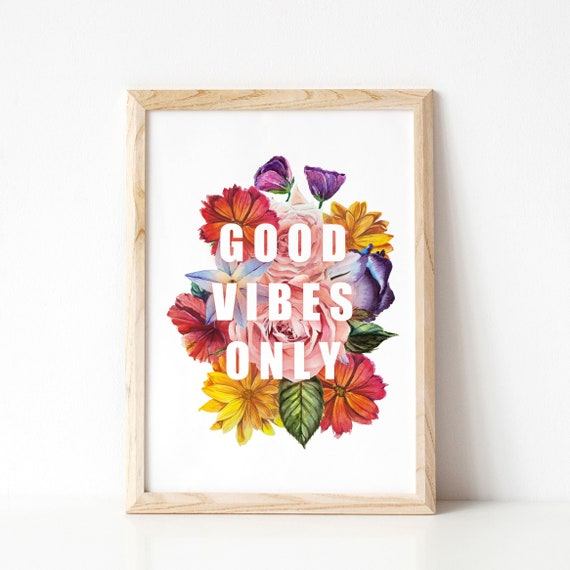 Scandi Hygge Poster /'Good Vibes Only/' Motivational Modern Floral Print IKEA size