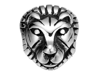 1pc Lion Head Stainless Steel Small Hole 8mm Lion Heads Animal Charms for DIY Beaded Bracelets Silver Tone Animal Beads Fit Leather Bracelet