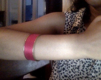brass and red thread bangle