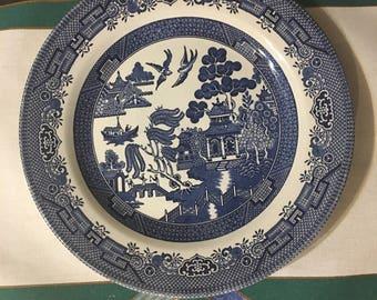 One Churchill England u0027Willowu0027 Dinner Plate 10-1/2  & Churchill plate | Etsy