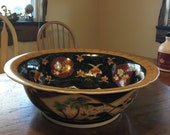 Vintage Large Porcelain Decorative Chinese Bowl in The Imari Style 1980s