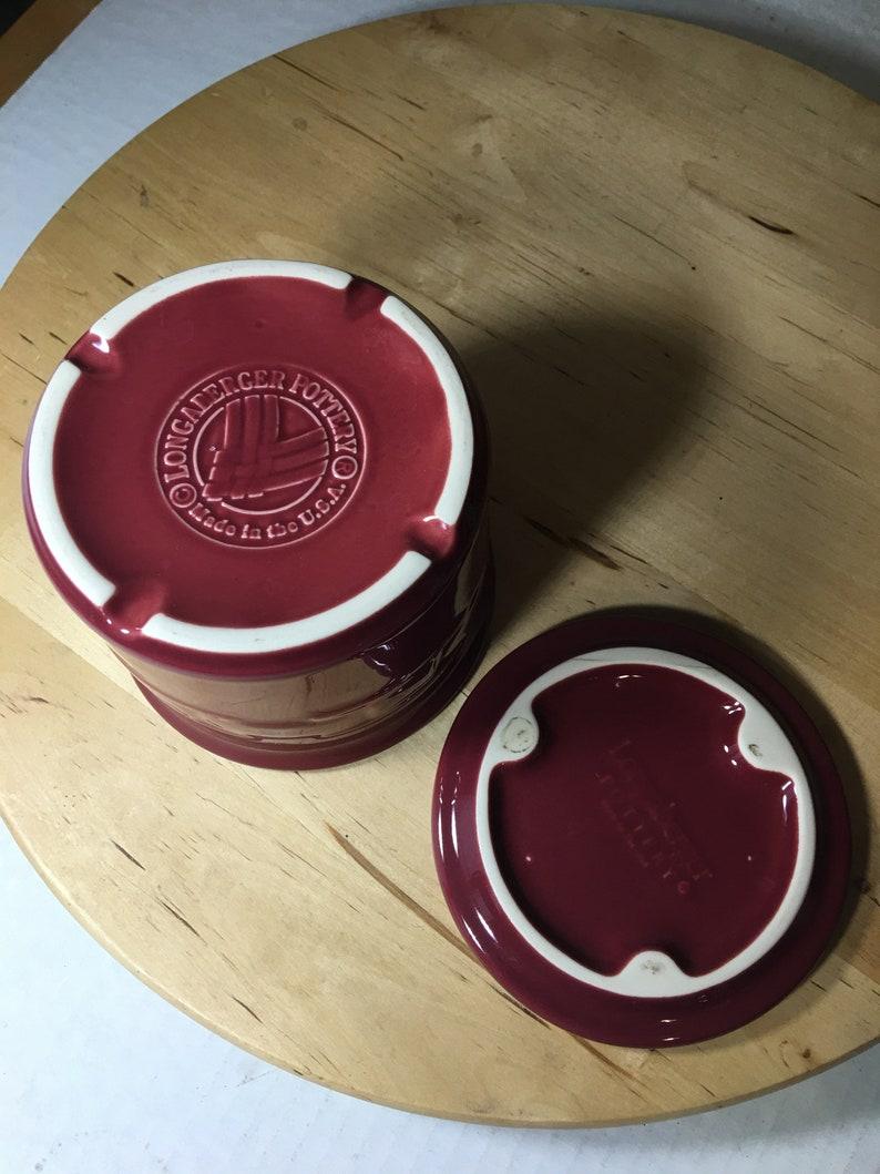One Longaberger Woven Traditions Paprika Small Lidded Crock 3-78 x 4-12 USA