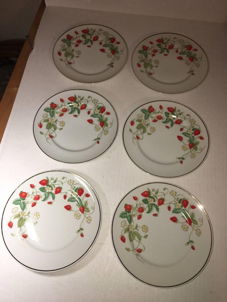 Set of Six Avon Porcelain Dessert Plates with 22KG Trim 7-12 Diameter Brazil 1978