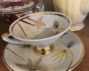 Art Deco Porcelain Teacup and Saucer Winterling Bavaria 1950s