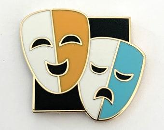 Musical theatre inspired hard enamel pin - Theatre Drama Masks 1inch square enamel pin