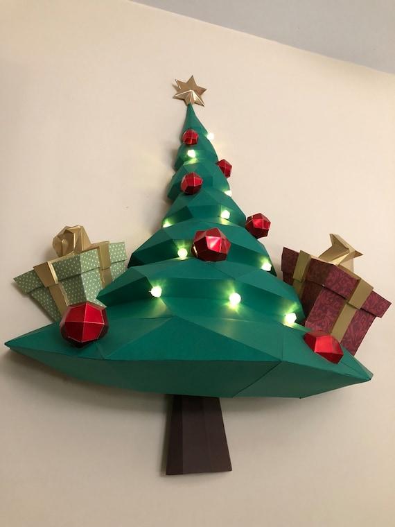3d Paper Christmas Tree.Christmas Tree Papercraft Papercraft Christmas Tree Low Poly 3d Paper Model Paper Craft Paper Sculpture Christmas Tree Origami Diy
