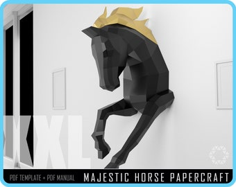 PAPERCRAFT HORSE Papercraft DIY - Horse Paper craft, 3D paper, Craft Animals, Horse Low Poly, Horse paper model, Papercrafting gift ideas