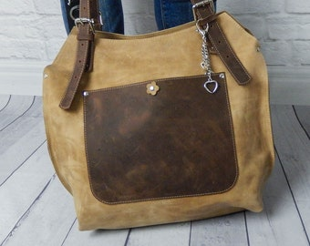 Handbag, handicraft, 100% natural leather handmade Leather Bags, oversize, leather hobo bag, unique