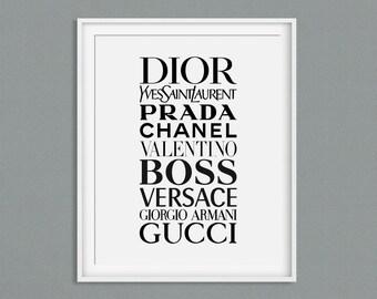 1e9fc1f7aa79 Gucci Prada Chanel Versace Fashion Print Fashion Printable Valentino Dior  Fashion Brands Fashion Brand Fashion Typography Wall Art Printable