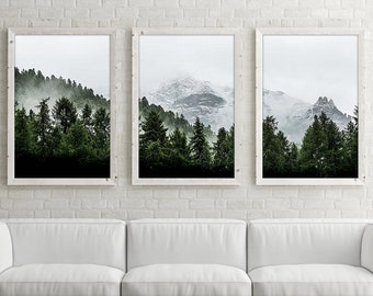 Mountain Wall Art Print Set Of 3, Forest Wall Art Set Of Three, Mountain