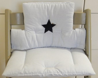 High chair seat cushion/set, light blue, check, stripes or stars also with name, mushroom, star, crown *
