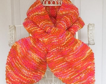 Hand Knitted Orange Scarf, Miss Marple Style Scarflette, Crossover Neck Warmer, 1940's Style Clothing, Bow Tie, Keyhole Shawl