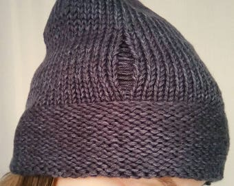 Hipster hat grey knit hat woman knit hat grey woman hat slouchy beanie gray hat women's knit hipster hat with holes double brim knit hat