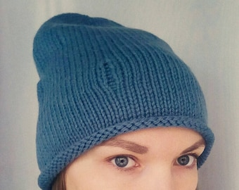 Hipster women hat, slouchy beanie hat, slouchy beanie women, knit hat slouchy, cap with holes, hat with holes, blue slouch, hipster blue hat