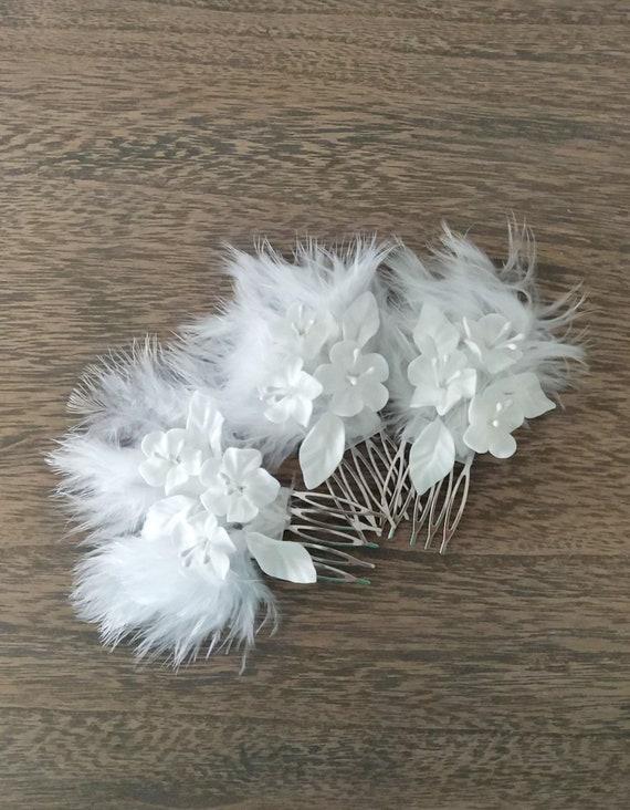 Feder Hochzeit Haarkamm Braut Weiße Blume Braut Haar Fascinator Hochzeit Kopfschmuck Frisur Zubehör Art Deco Feder Haarkamm
