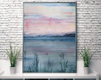 ABSTRACT PRINT, Large Wall Art, Giclee Print from Painting, Pink/Blue/Purple/Green Abstract