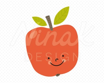 HAPPY RED APPLE Clipart Illustration - 0028
