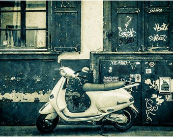 Vespa Piaggio iconic Italian scooter moped motorcycle motorbike mounted photograph photographic photography wall art print grungy grafitti