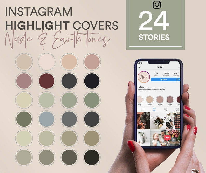Solid Neutral Instagram story highlight covers, Bundle Instagram covers,  Earth tones Instagram Story Highlight, Instagram Story Template,