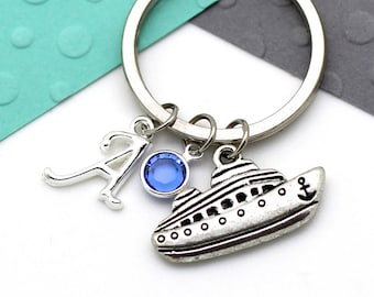 customized monogram initial keychain Cruise ship keychain cruise ship charm personalized keychain initial charm nautical keychain