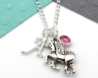 Personalized Small Unicorn Necklace, Unicorn Custom Charm Necklace, Personalised Swarovski Birthstone & Initial Name Gift
