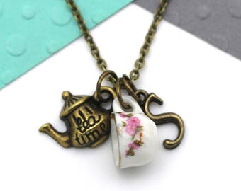 Personalized Tea Time Charm Necklace, Customized Afternoon Tea, Teapot, Tea Cup, Tea Drinker Personalised Initial Name Gift