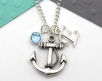 CHOOSE two  personalized charms Birthstone initial Silver Anchor Jewelry sterling silver anchor necklace Sterling Silver Anchor Necklace