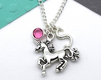 Personalized Unicorn Necklace, Custom Unicorn Horse Necklace, Personalised Swarovski Birthstone & Initial Name Gift