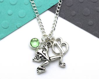 Personalized Frog Charm Necklace, Toad Customized Necklace, Personalised Swarovski Birthstone & Initial Name Gift