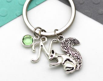 Personalized Squirrel Keychain, Squirrel Custom Keyring, Personalised Swarovski Birthstone & Initial, Letter, Alphabet Gift
