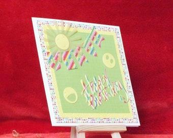 Handmade boy/girl bright happy birthday card child/teenager smiley face