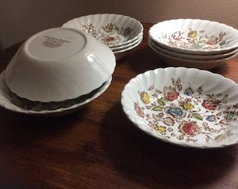 Staffordshire Bouquet Dessert Bowls By Johnson Bros