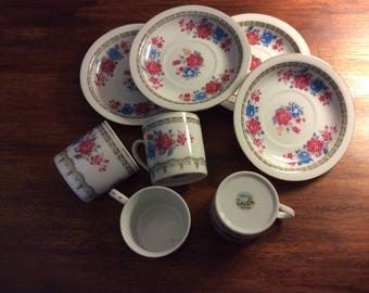 Espresso size cups and saucers - Chinese dishware from China pink/blue roses