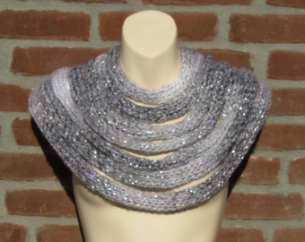 Glitter scarf. Infinity scarf. Festival clothing. Sparkly scarf. Sparkly cowl. Unusual scarf. Boho scarf. Silver scarf. Sequin scarf.