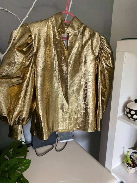 Metallic puffed sleeve balloon sleeve blazer/ jack