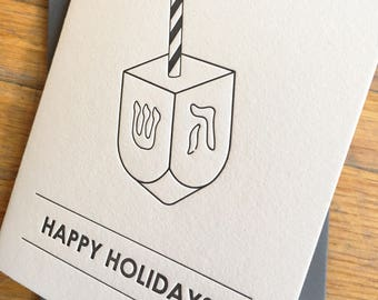 Clever Chanukah card - Happy Holidays Hanukkah greeting card letterpress printed featuring Dreidel / Candy Cane combination