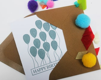 Happy Birthday letterpress greeting card with balloons. Beautiful birthday card with embossed balloons. Unique birthday card.