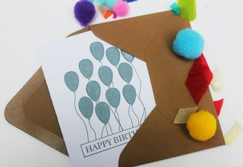 Happy Birthday letterpress greeting card with balloons. image 0