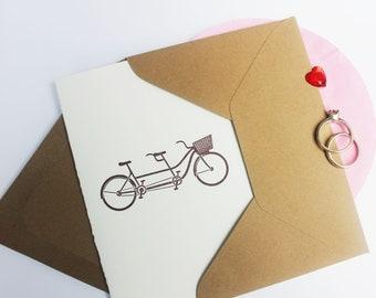 Letterpress Tandem Bicycle engagement or wedding letterpress card featuring a tandem bicycle for wedding anniversary card, engagement card