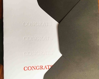 Congratulations greeting card embossed red. Beautiful letterpress card perfect as wedding card, engagement card, graduation card & more
