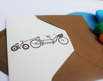 Tandem + attachment for baby beautiful welcome baby letterpress greeting card for baby shower, birth or first birthday.