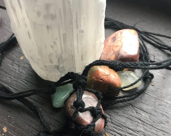 Wrapped rhodonite hemp necklace
